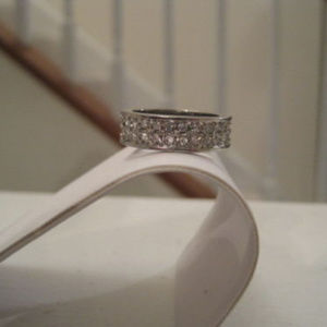 CHARTER CLUB DOUBLE ROW CZ CRYSTAL SILVERTONE RING